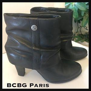 NWOT BCBG Paris Cinelia Black Leather Ankle Boots